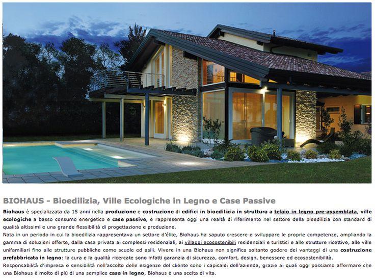 Biohaus, Bioedilizia, Ville ecologiche in legno e case passive http://www.dibaio.com/info/biohaus-prezzi-case-prefabbricate.htm