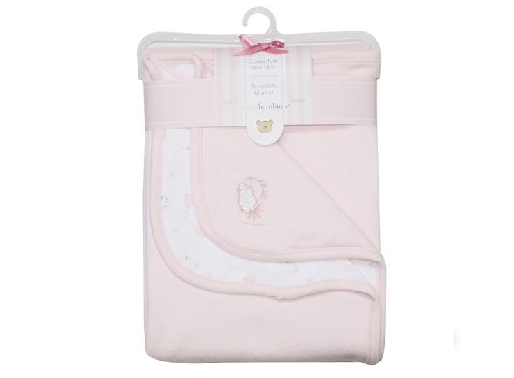 Babyfilt vändbar bomull Piccolo, rosa - Bonti