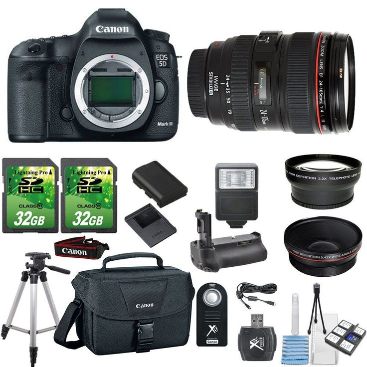 Paging Zone Canon EOS 5D Mark III 22.3MP SLR DSLR Camera 24-105mm L Lens with 2 Piece 32GB Memory Cards, Battery Grip, Case and Telephoto and Macro Aux Lens. This Paging Zone Premium Kit Contains: : Canon EOS 5D Mark III 22.3MP SLR Digital Camera + Canon 24-105mm L Lens. [1] 2pc 32GB SD Cards [2]50'' Tripod [3] Flash [4] High Speed Memory Card Reader [5] Wireless Remote. [6] 6pc Starter Kit [7] Canon Camera Case [8] .43x Wide Angle Aux Lens [9] 2.2x Telephoto Aux Lens [10] Battery Grip…