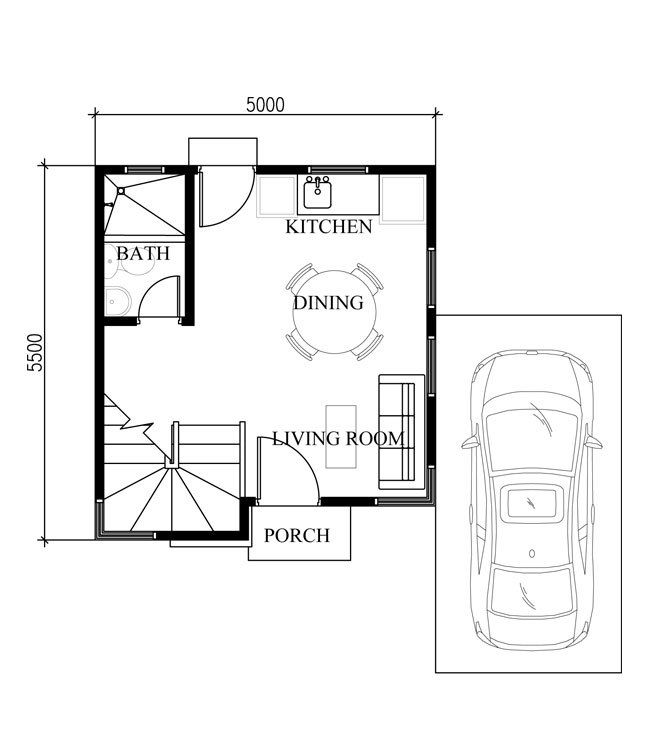 Small Home Design Plan 5x55m With 2 Bedrooms Plan Maison
