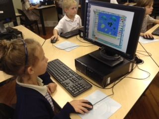 """Grade 1 pupils brought their """"Under the Sea"""" theme to the IT lab. They created beautiful book covers for their for their new writing books using Tux paint."""