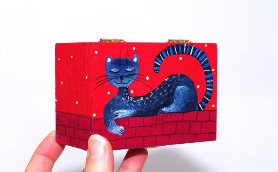 Hand painted jewelry box wood Small jewelry box girls by artbyasta #SPSTeam