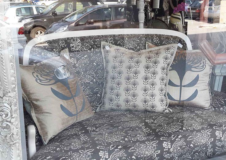Suzie Qu bespoke cushions with the Pincushion Protea repeat & singular print