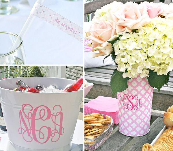 include Bride's new monogram in decor: Wedding Shower, Gift, Bridal Shower Ideas, Monogrammed Vases, Monogram Ideas, Ice Buckets, Monogram Vase, Party Ideas, Pink Bridal