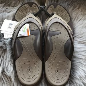NWT Crocs Modi Sport Flipflops Walnut/ Brown sz 11 #fashion #clothing #shoes #ac…