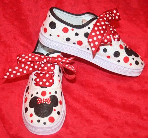 Custom Painted Minnie Mouse Inspired Silhouette Shoes by paintmama, $60.00