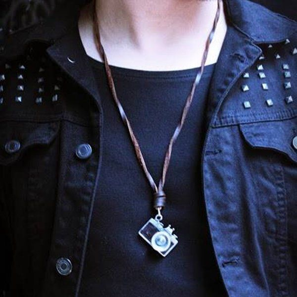 Vintage Handmade Alloy Camera Leather Necklace   #women #men #fashion #jewelry