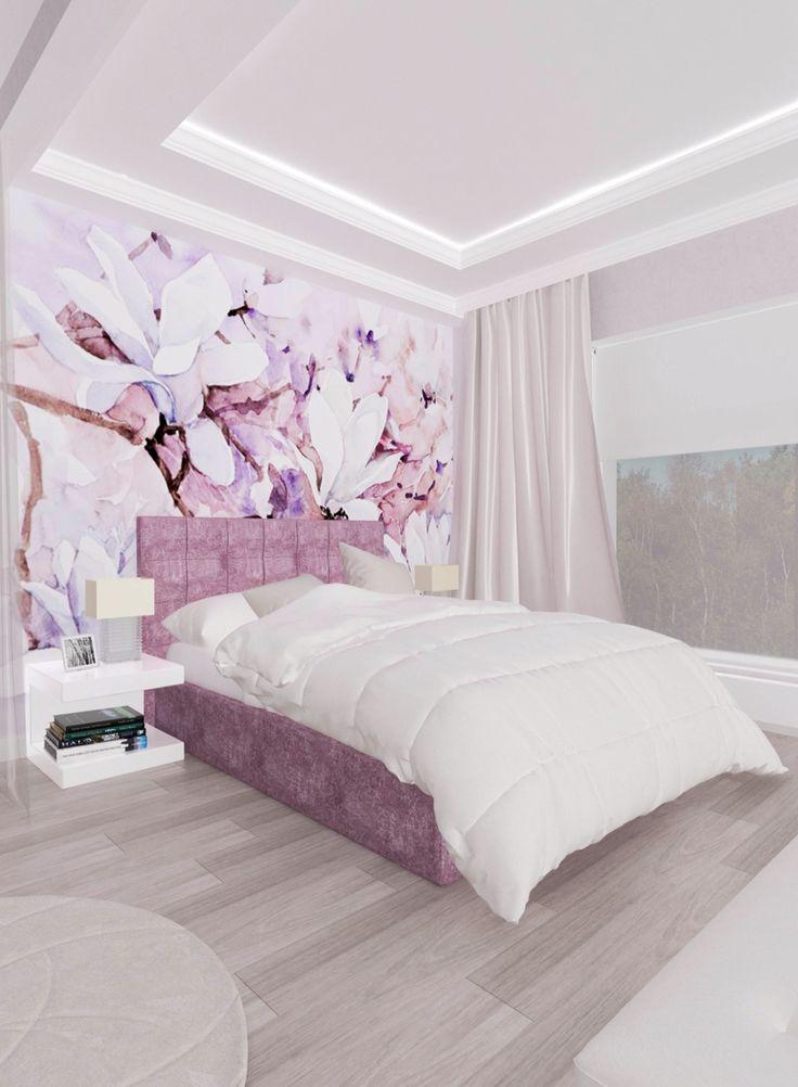 Розовая спальня для девушки 15 лет.