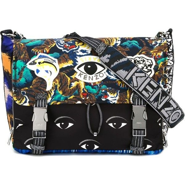 Kenzo Multi Logo Messenger Bag ($434) ❤ liked on Polyvore featuring bags,  messenger bags, multicolour, zip top messenger bag, kenzo, multicolor bag,  ...
