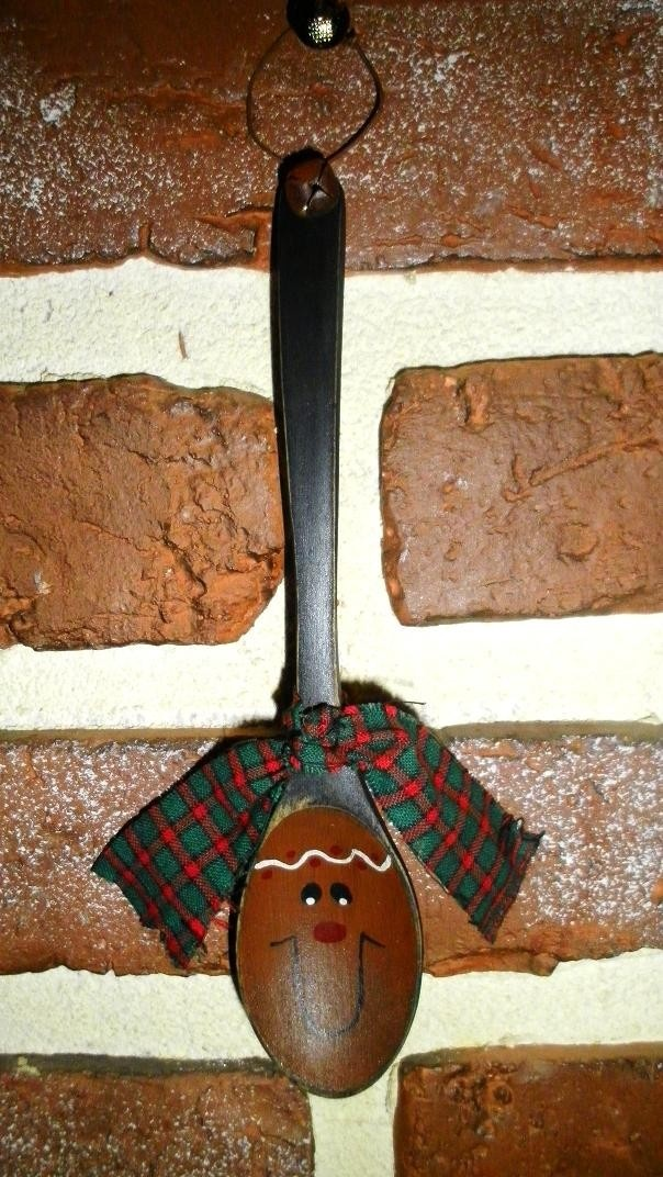 Primitive Gingerbread Hand Painted Wooden Spoon Ornament. $4.00, via Etsy.  This is so cute!