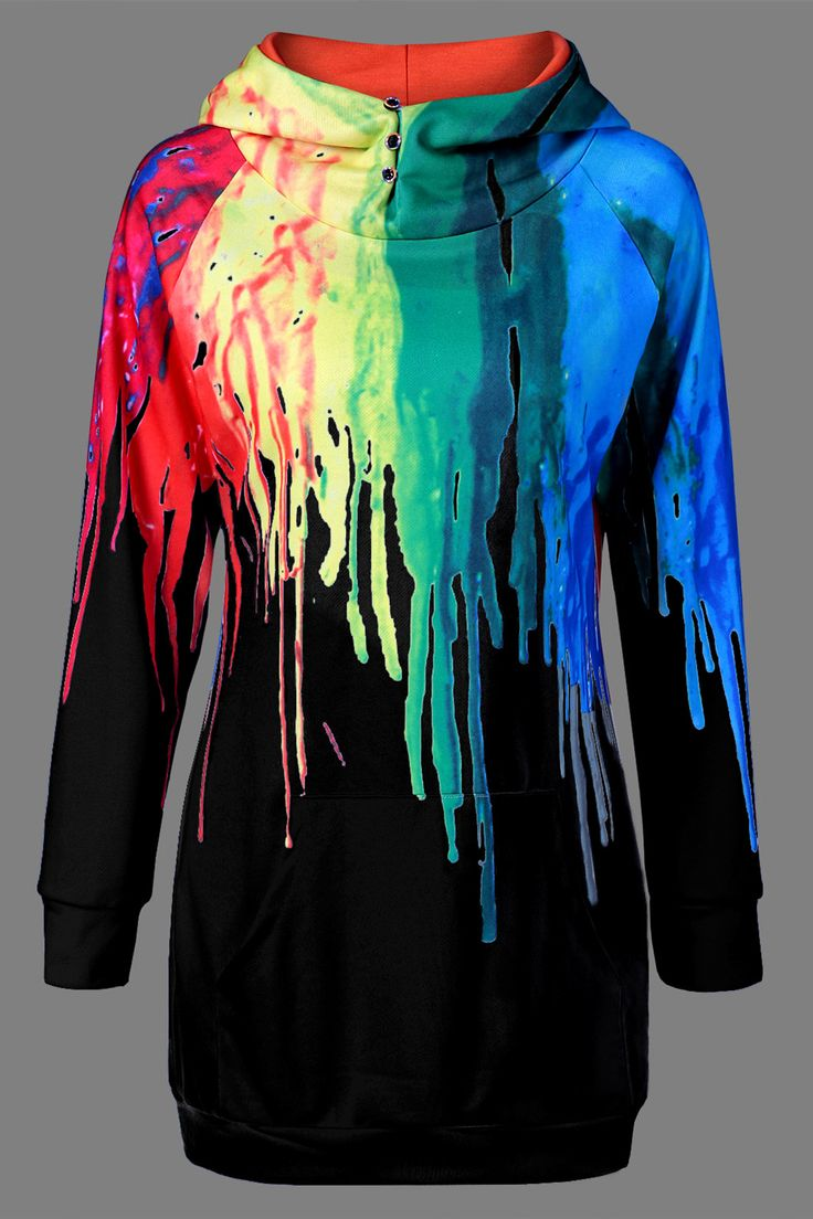 $17.70 Oil Paint Over Print Hoodie