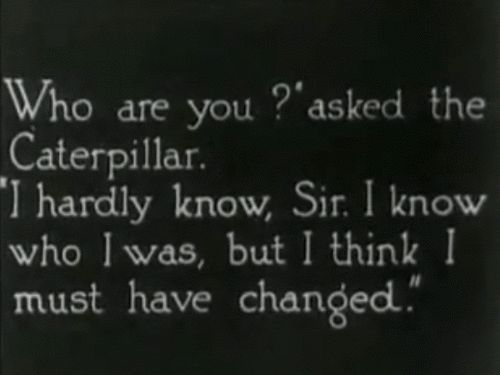 """Who are you?"" asked the Caterpillar...     Alice's Adventures in Wonderland."