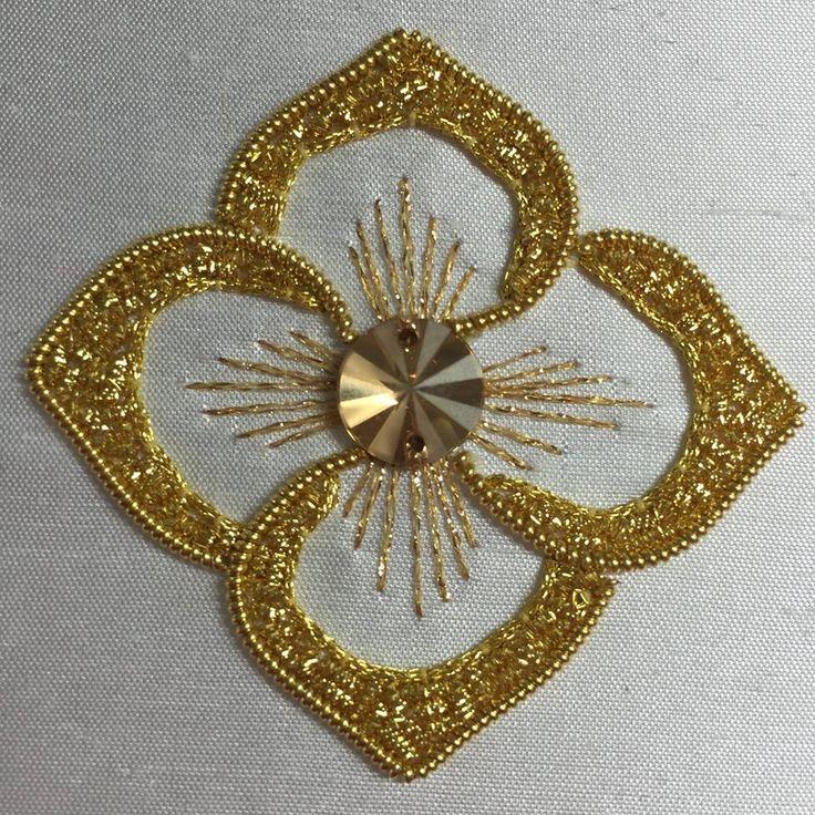 Goldwork Embroidery worked by Celeste Chalsani ~ https://www.facebook.com/celestechalasani2015/photos/a.695391193930211.1073741828.695382550597742/775870205882309/?type=3