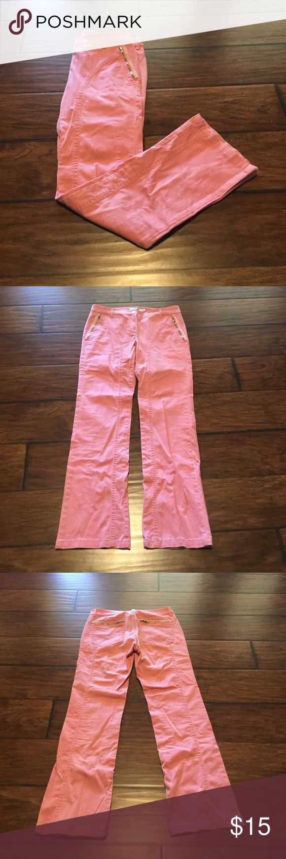 "**SALE** Cute coral pink pants Super cute coral pink color straight leg pants.  With zipper pockets in front and back.  Soft cotton materials, fits very well.  Size M, waist 28"".  Barely worn, like new! Ochirly Pants Straight Leg"