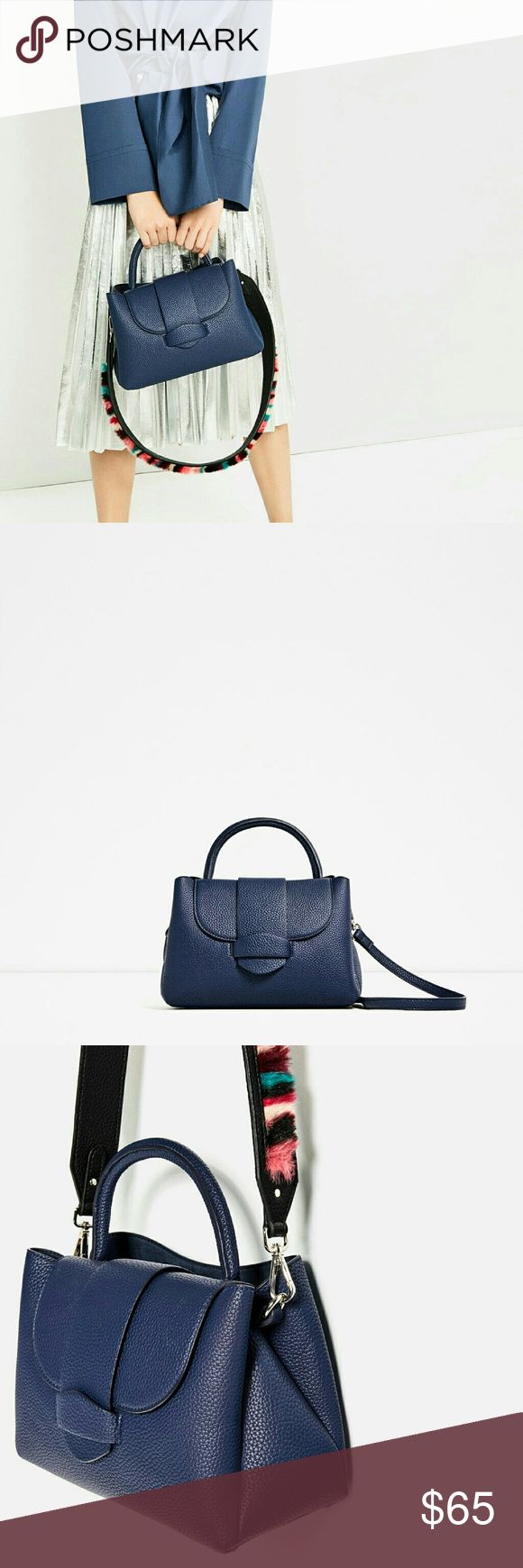 "Zara bag (8061) New with tag. outer shell Lining 100% polyester. Blue mini city bag. Detachable multicolor shoulder strap with synthetic fur. Handle. Magnet Fastening. measurements 19 x 27 x 12 cm/ 7.4 x 10.6 x 4.7"" Zara Bags Crossbody Bags"