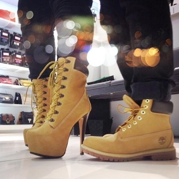 his and hers timberlands. no, really. #shoeporn #LoveThis !!!