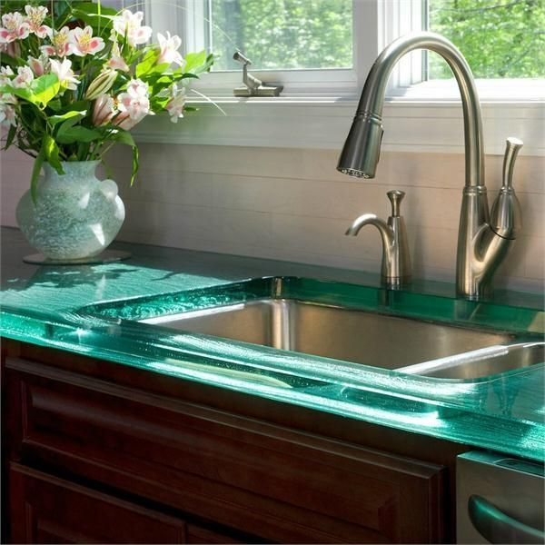 25 best glass countertops ideas on pinterest for Blue countertop kitchen ideas