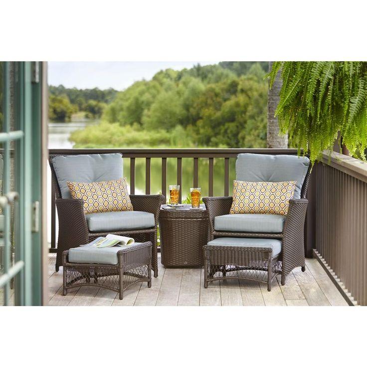 Hampton Bay Blue Hill 5 Piece Patio Conversation Set With Blue Green  Cushions