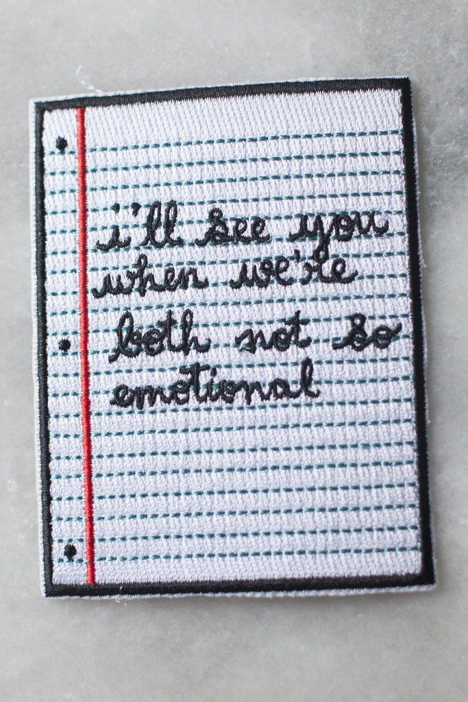 Not So Emotional Iron-On Patch | Stay Home Club // $6
