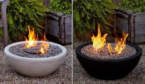 Outdoor Ventless Fire Bowl The great thing about this is you can build one on your own. You just need a bowl and pebbles. It uses Real Flame® pour gel, designed to burn for up to 2 1/2 to 3 hours long per can.