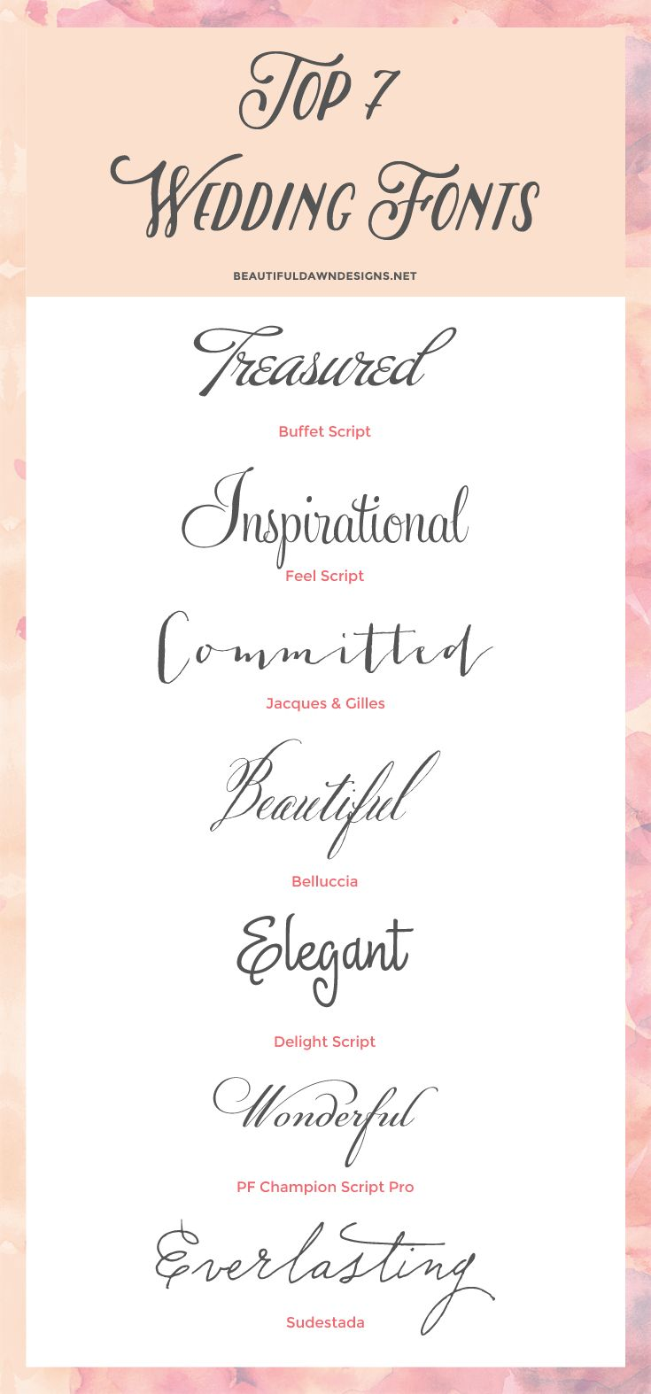 These script fonts would be perfect for wedding invitations or save the date cards.