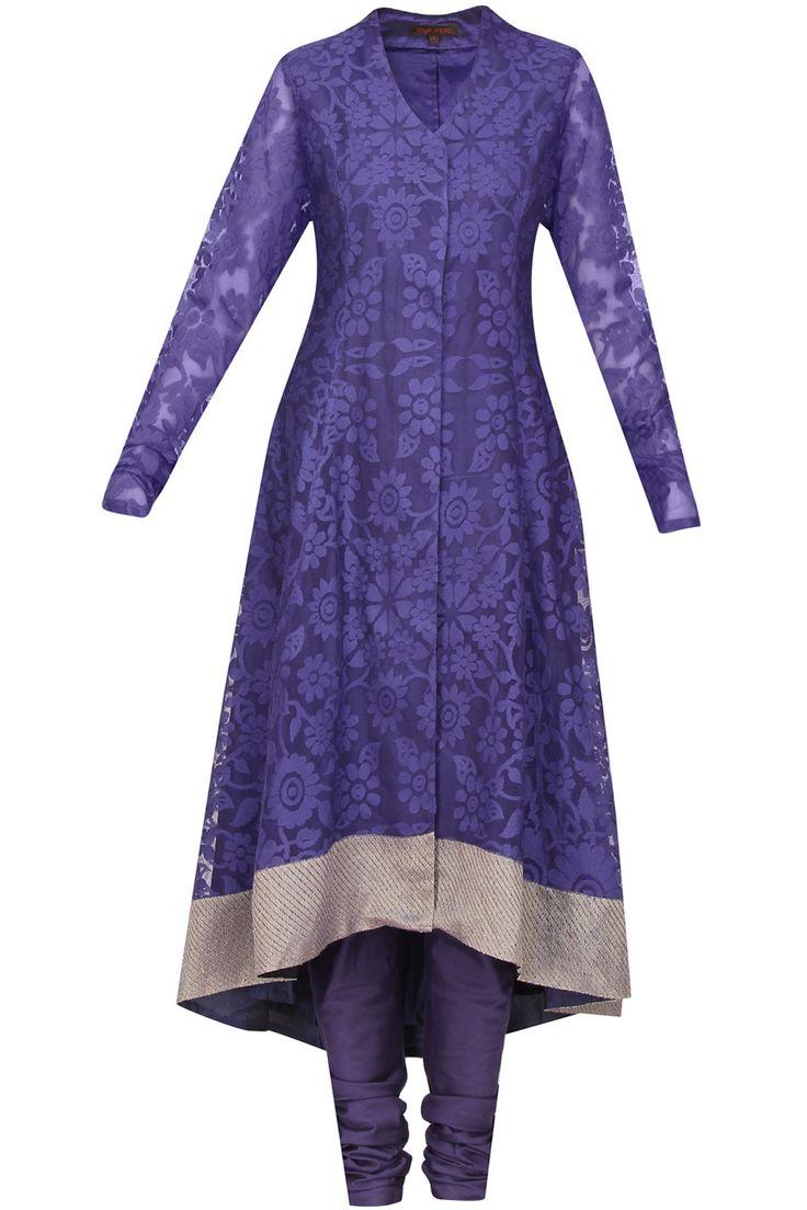 Purple net jaquard zari border asymmetric kurta set available only at Pernia's Pop Up Shop.