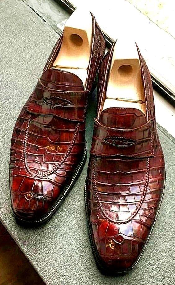 57b8684d2f598 Luxury Alligator Slip-On Loafers for Men