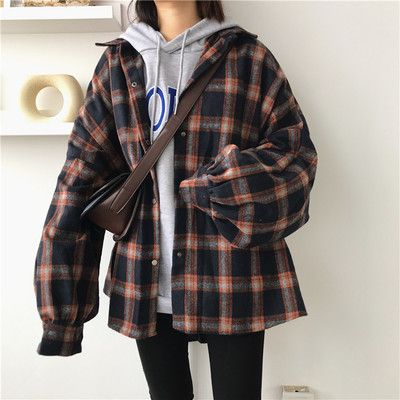 Harajuku Lantern Sleeve Plaid Shirt Woolen Jacket from Harajuku Feclothing