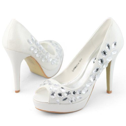 SHOEZY Designer Womens Jewel Peep Toe High Heel Platform Pumps Shoes Size 3-8 SHOEZY,  11.5 cm heel