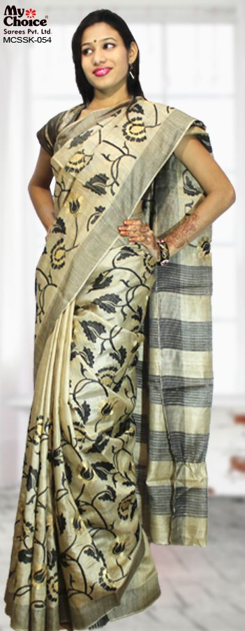 My Choice Silk MCSSK-054 Party Wear Jute silk with all over embroidery