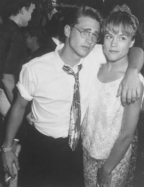 """Jason Priestley & Christine Elise, at the premiere of motion picture """"Buffy the Vampire Slayer"""". 1992"""