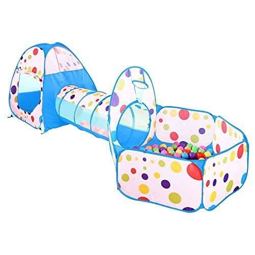 SpringBuds 3pc Kids Play Tent Crawl Tunnel and Ball Pit Pop Up Bounce Playhouse Tent with Basketball Hoop, Indoor&Outdoor Use with Carrying Case,Blue TRIPLE THE FUN:With multiple style tents & long crawl tunnel, the kids will enjoy turning this multipurpose indoor outdoor playhouse into a fun filled playground. Giving boys and girls more fun and adventure to explore, play games, and be imaginative. SIMPLE & STURDY:Portable, durable, easy to setup & foldable with a lightweight