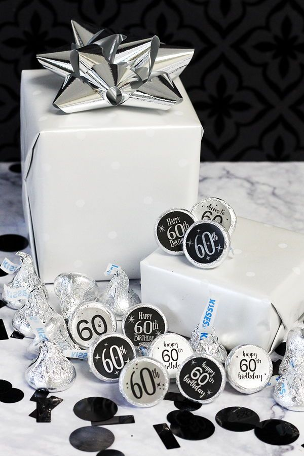Black And Silver 60th Birthday Metallic Foil Party Favor Stickers Use These Shiny To Make Favors