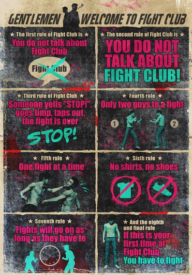 Fight club rules - By TOTAL LOST. https://www.etsy.com/listing/243350330/fight-club-rulesdigital-printmovie?ref=shop_home_active_1
