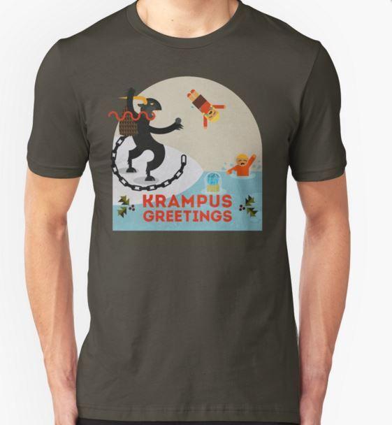 krampus t-shirt drowing children