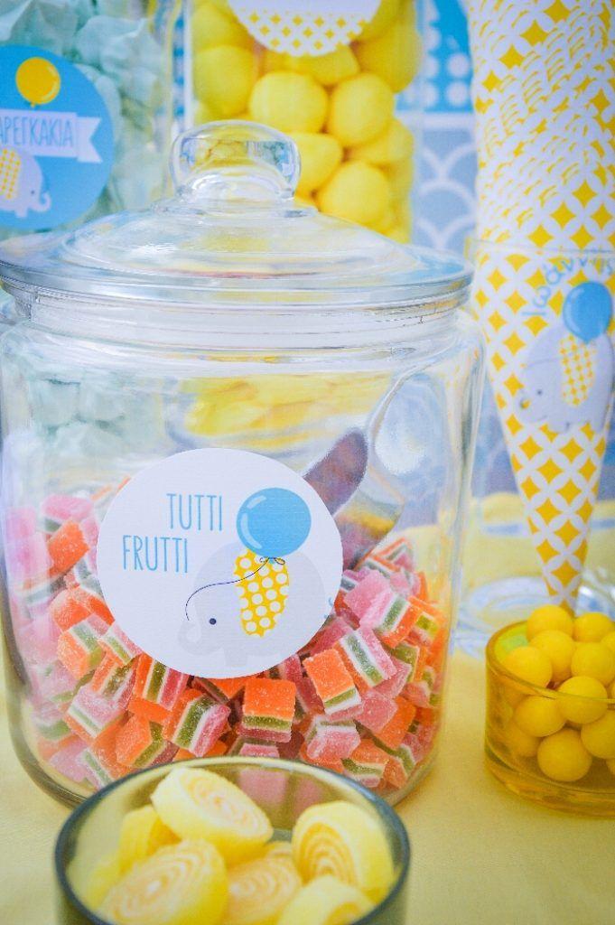 #baptism in #Rhodes #Greece #candytable #sweets #labels #elephanttheme #grey #yellow #GoldenAppleWeddings #EventPlanners