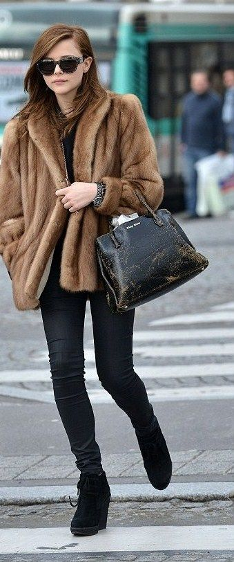 Chloe Moretz Fur Goat Big Coat Black Skinny Jeans MK Bag Michael Kors Purse
