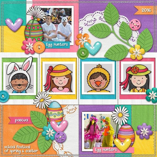 Easter scrapbook page created with the Egg Hunters digital scrapbook kit from Kate Hadfield Designs! | Layout by Creative Team member Karen