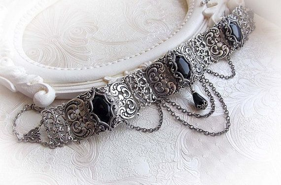 Black crystal choker Midnight Romance by Midnight Vision Jewelry  Gothic/victorian inspired stunning choker featuring three black faceted jewels