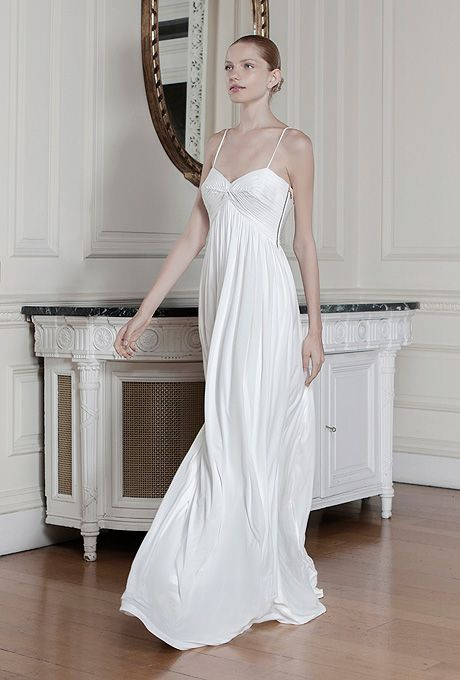 "Brides.com: . ""Agnes"" sleeveless silk sheath wedding dress with a sweetheart neckline and spaghetti straps, Sophia Kokosalaki"