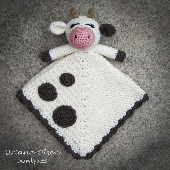 Cow Lovey CROCHET PATTERN instant download  blankey by Bowtykes, $4.50