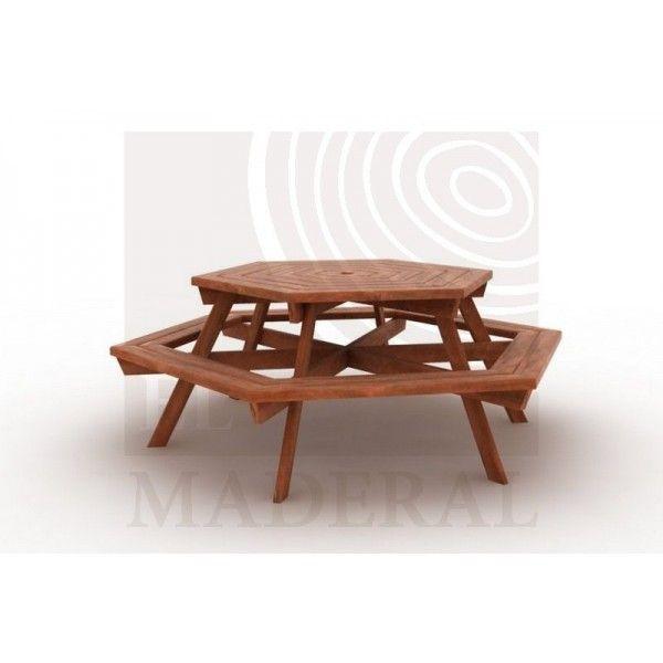 Mesa hexagonal de picnic - Productos El Maderal