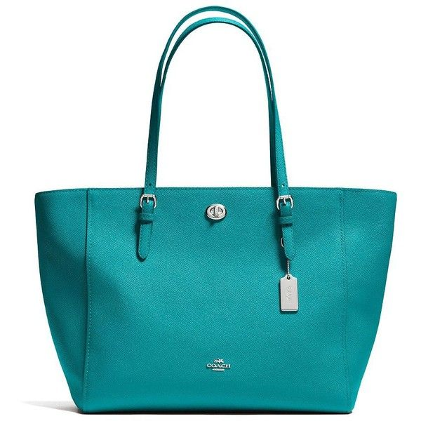 COACH Crossgrain Leather Tote Bag ($310) ❤ liked on Polyvore featuring bags, handbags, tote bags, apparel & accessories, turquoise, coach tote, zip top tote, tote handbags, tote purses and handbag tote