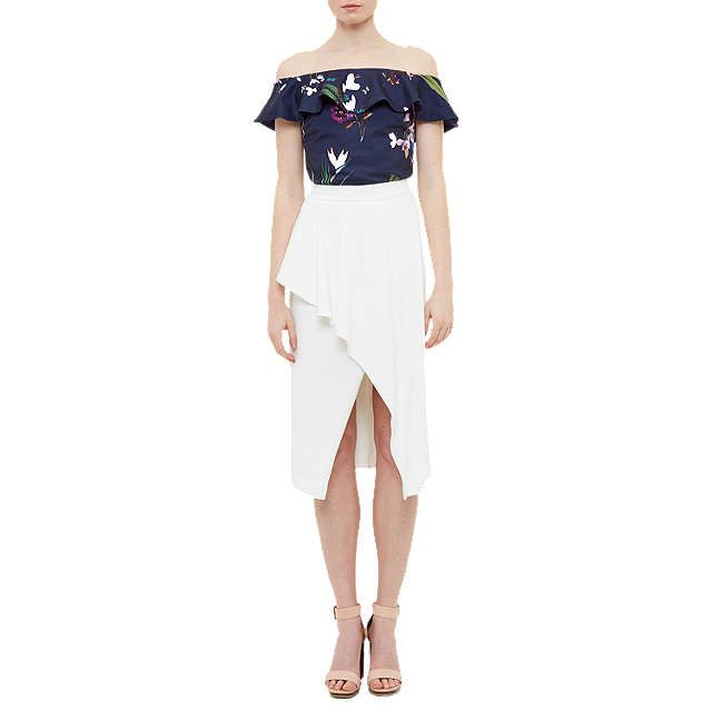 BuyTed Baker Imygen Tropical Oasis Frill Bardot Top, Navy/Multi, 0 Online at johnlewis.com