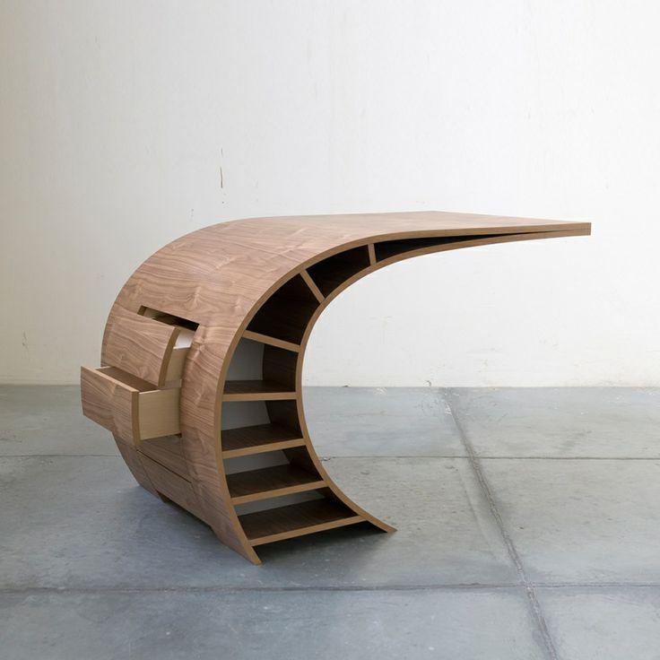 designer desk curvilinear desk bureau schlp available on dutch design only - Designer Desks