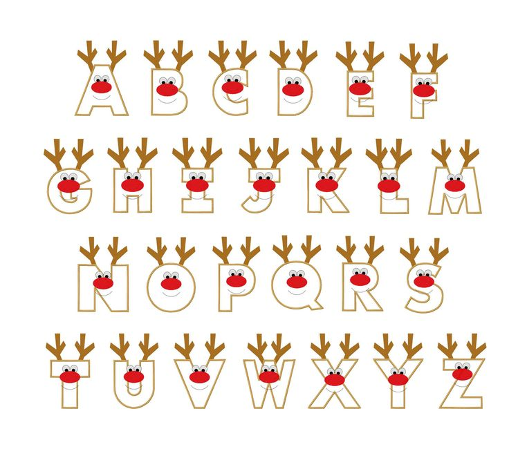 Christmas reindeer letters applique designs. via Etsy.