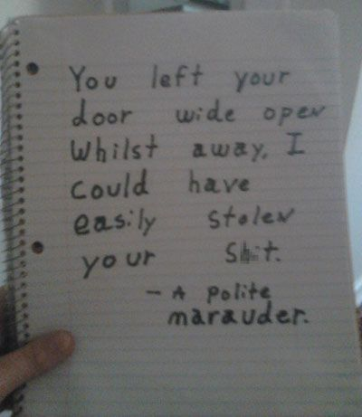 funny pissed off neighbor notes polite intruder