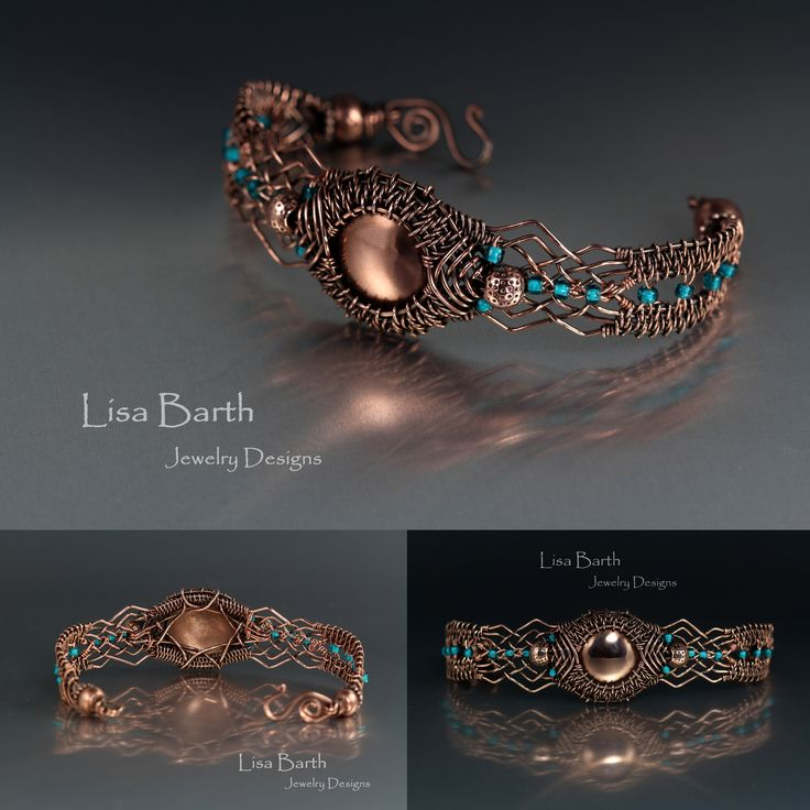 My work has been influenced by my trip to Scotland and I find the Celtic aesthetic is pretty strong and it certainly is showing up here in this piece. I did some open weaving next to the focal. The centerpiece is sheet copper I cut, dapped and wove into the bracelet. --Lisa Barth