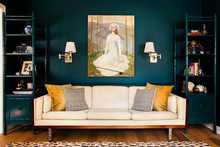 teal dining room - JADE GARDEN BenjMoore paint