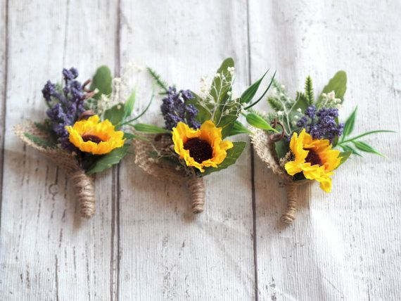 Handcrafted wedding boutonnieres for your most special day.  This gorgeous flower wedding boutonnieres consist of cute sunflowers, green leaves, lavender, burlap twine and other secret woodland elements which make them perfect addition to your woodland inspired or rustic wedding.  Each of the boutonnieres is about 4.33 or 11 cm tall and looks gorgeous on lapel. According to your needs, I can make bigger quantity shortly or whatever else combination or size suits your wedding so go ahead and…